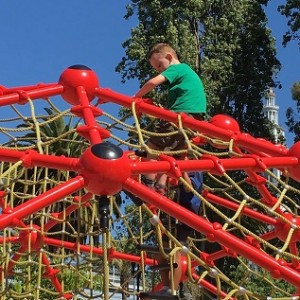 William on the red jungle gym at Embarcadero - resized