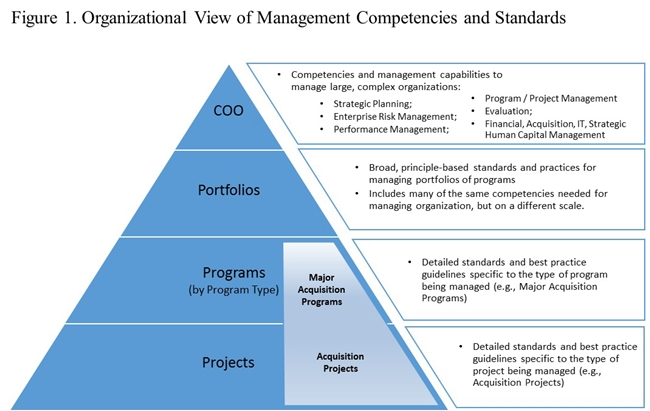 Tiered triangle that shows the relationship between projects and programs